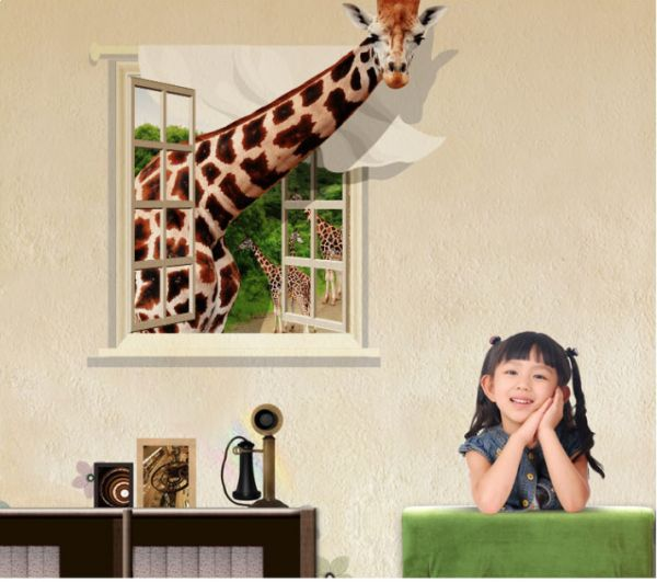 Giraffe In The Window 3D Wall Sticker Home Decor Decal For Living Room Kids Bedroom Wallpaper