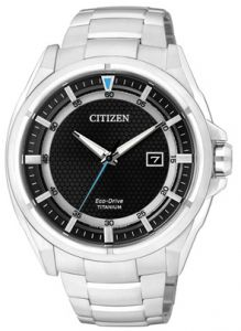 Citizen AW1401-50E Eco-Drive Mens Watch White Stainless Steel Black Dial b7d49c353b4