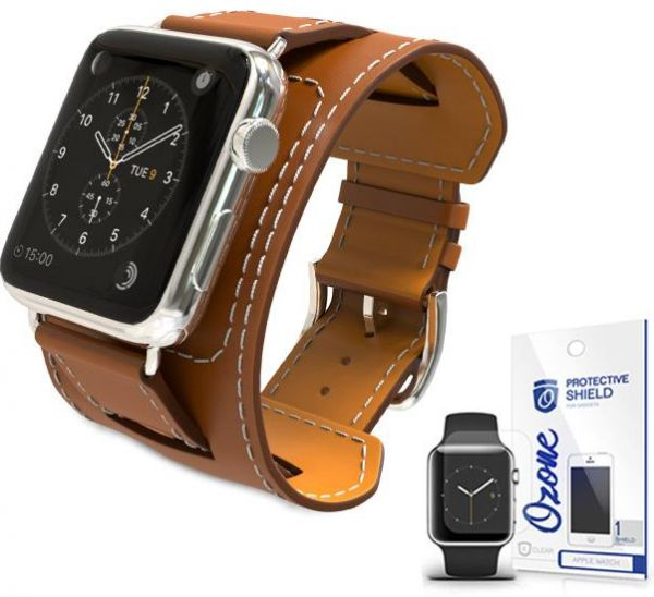 buy online 9b5f7 75106 PU Leather Watch Band Strap with screen protector for 42mm Apple Watch Brown