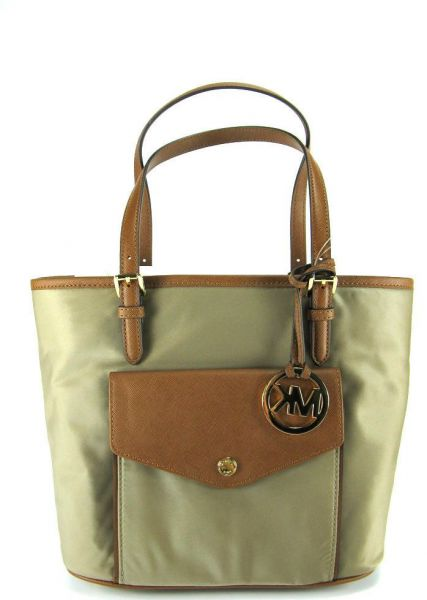 8a36bb6153a4 MICHAEL KORS JET SET NYLON MEDIUM POCKET SHOULDER TOTE BAG DUSK TAN ...