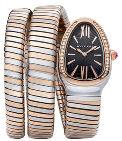 96a34fc55 Bvlgari Serpenti Tubogas 2 Line Women's Black Dial Stainless Steel ...