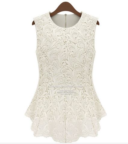 1acb08c1cec14 White Sleeveless Sexy Top Lace Blouse Crochet For Ladies