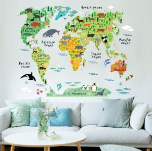 World map zooyooicanvasartthe decal guru uae souq animal world map bedroom living room background wall stickers gumiabroncs Images