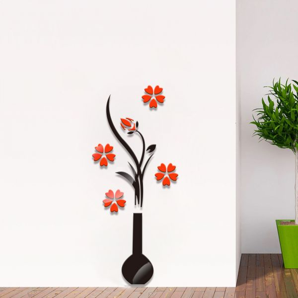 3d flower mirror wall sticker acrylic wall decals | souq - uae