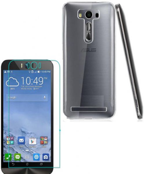 Asus Zenfone Selfie ZD551KL Clear Back Cover And Glass Screen Protector