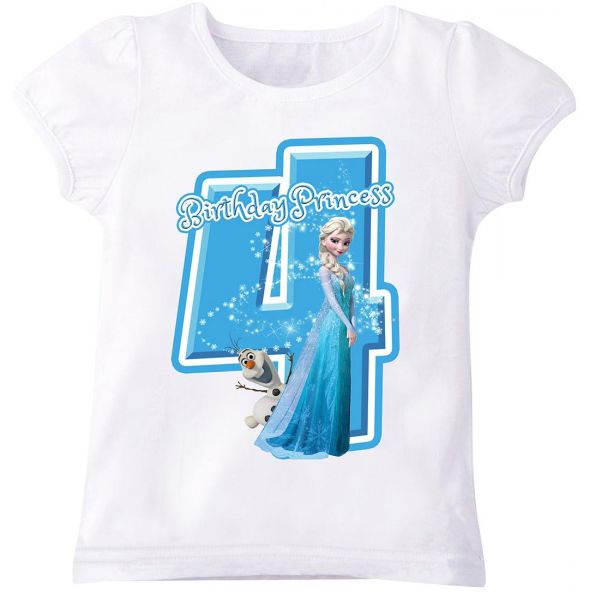 Disney Princess Elsa Of Frozen With Birthday And Number 4 Puff Sleeve T Shirt