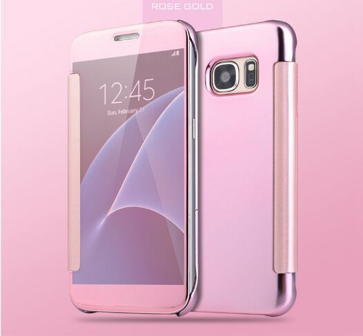 detailed look de444 8294c Flip cover for Samsung Galaxy S7 Edge women smart view with Smart chip thin  Case EDS7-14B Rose gold