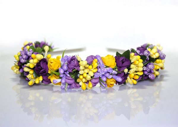 Handmade Violet Purple Yellow Floral Headband Flower Crown