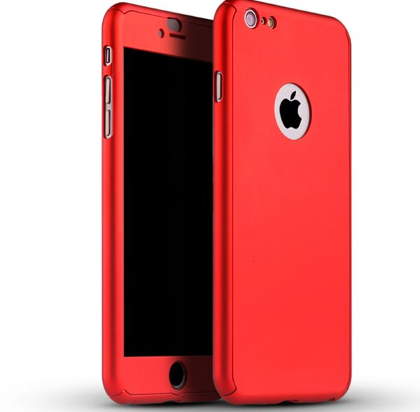 newest f5a43 7b38b 360 Degree Full Body Protection Case Red For iPhone 6 Plus / 6S Plus