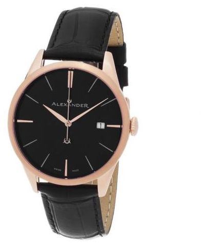 aad988c2cce Alexander Heroic Sophisticate Wrist Watch For Men - Black Leather Analog  Swiss Watch - Stainless Steel Plated Rose Gold Watch - Black Dial Date Men  Designer ...