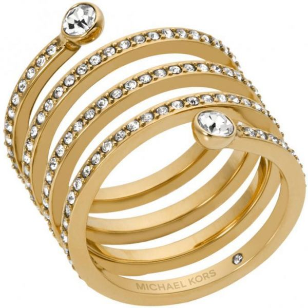 a5861e3845bd0 Michael Kors Women s Gold Plated Pave Coil Ring