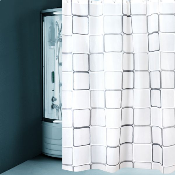 Square Printing Waterproof Shower Curtain 180 Cm X 200