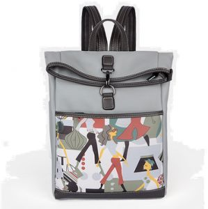 6e58f470606 Korean version Fashion Trend Personality Leather double shoulder bag  Backpack for Women HH121 grey