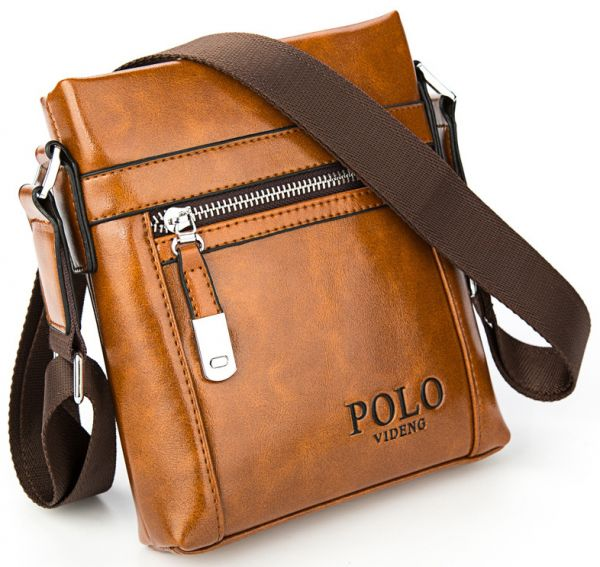 Videng Polo Leather Bag For Men Brown Crossbody Bags
