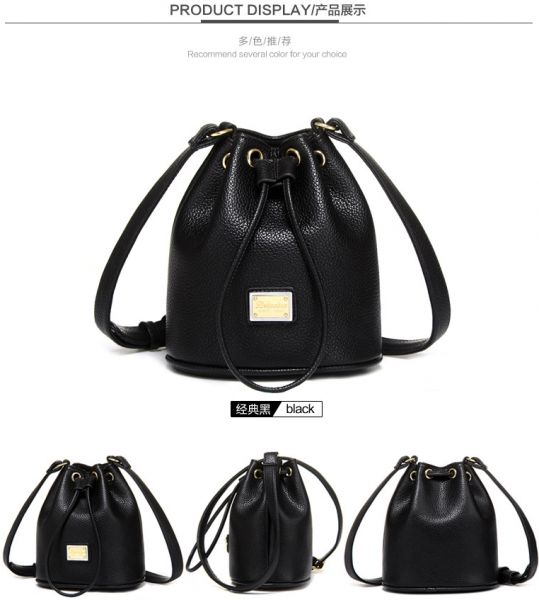 7c68aa2b8794 Fashion Black Bucket Shoulder Bag For Women Stylish Leather Crossbody Bag Chic  Ladies HandBag