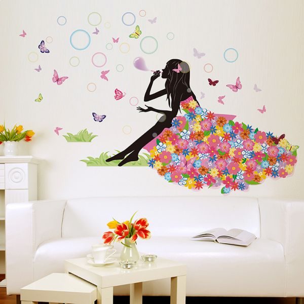 elves bubble girl home decoration decals bedroom background wall