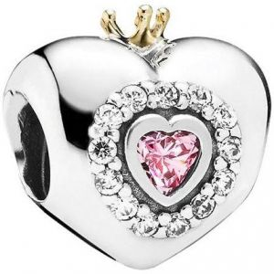 8f73beb55 Pandora Women's 14K Gold and Sterling Silver Pink Princess Heart Charm -  791375PCZ