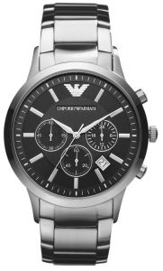 51c9f60f0 Emporio Armani Classic Men's Black Dial Stainless Steel Band Chronograph  Watch - AR2434