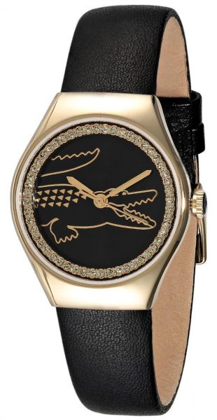 Lacoste Valencia Medium Women s Black Dial Leather Band Watch ... 56f215573a