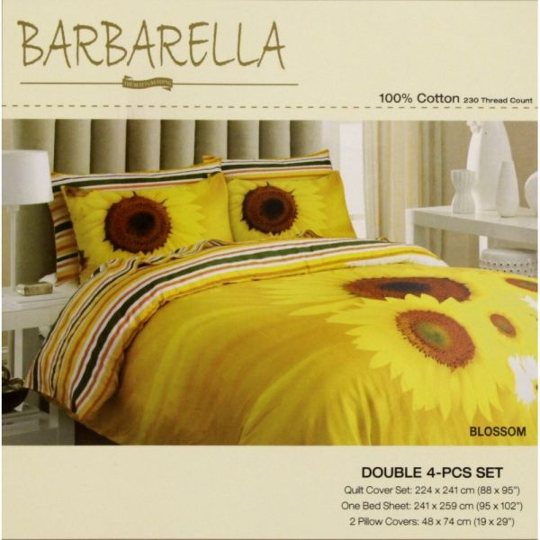 Barbarella King Size Cotton Floral Pattern Yellow Bed Sheets