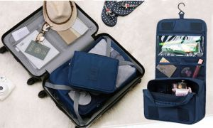 beb2a1af7840 Portable Waterproof Cosmetic Makeup Toiletry Travel Hanging Organizer  Storage Bag Pouch - Navy Blue