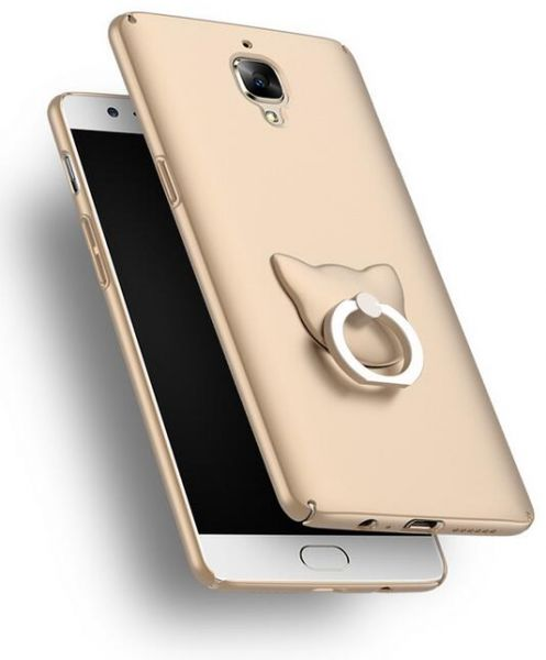 more photos 1d143 36605 Oneplus 3 ultra-thin hard case finger ring holder back cover anti fall  protective sleeve YJ322 gold