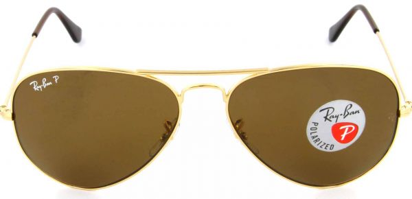 3f89fe2578 Ray Ban Unisex Brown Polarised Aviator Sunglasses-RB3025-001-57-58 ...