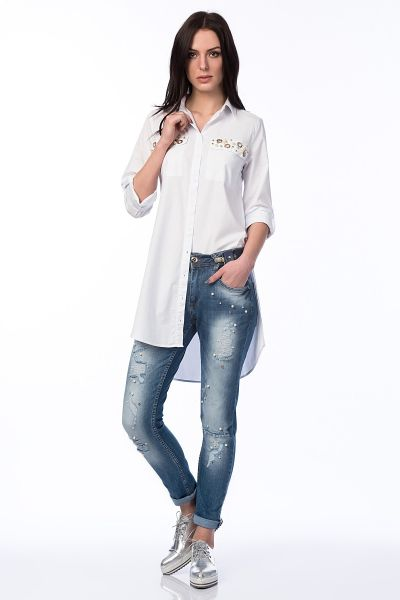 93bc8993097a5 Buy Y-london White Cotton Shirt Neck Shirts For Women - Tops