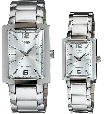 bb7c598b0b1f Casio His   Hers Silver Dial Stainless Steel Band Couple Watch - MTP LTP-1233D-7A.  by Casio