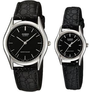 6cd7b63b3 Casio His & Hers Black Dial Leather Band Couple Watch - MTP/LTP-1094E-1A