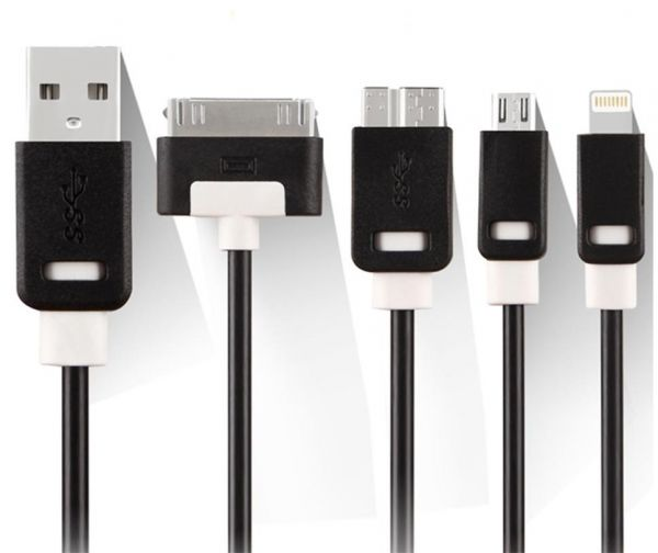 Trands All In 1 Multiple Usb Charging Adapter 4 With Lighting 30 Pin Micro 3 0 Data Cable