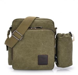 b7fd447f3142 Fashion Green Canvas Shoulder Bags For Men Retro Casual Cross-body Bags  Chic Vintage Multi-functional Handbags For Outdoor Trips