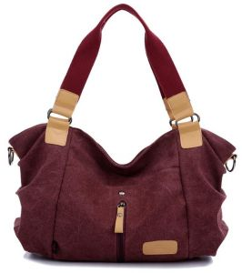 Vintage Wine Red Canvas Tote Bags For Women Retro Casual Shoulder