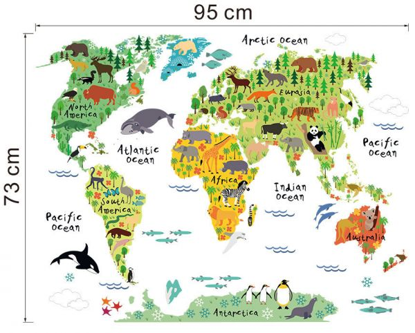 Souq animal world map removable decal art mural home decor wall animal world map removable decal art mural home decor wall stickers gumiabroncs Images