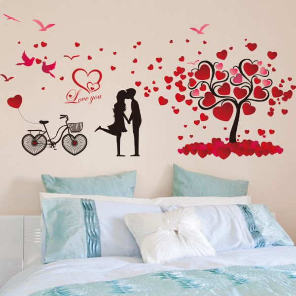huge size cartoon heart tree butterfly wall decals removable wall rh uae souq com