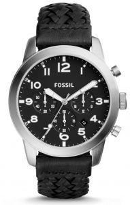 0092fd374 Fossil Pilot 54 Men's Black Dial Leather Band Chronograph Watch - FS5181