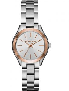 93b9b8c1cbe6 Michael Kors Mini Slim Runway Watch for Women - Analog Stainless Steel Band  - MK3514