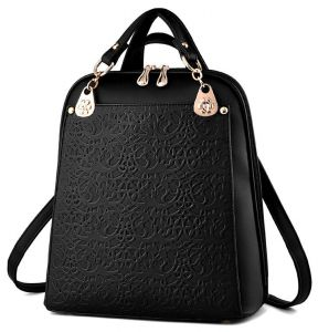 Solid Color Pretty lines Black Travel PU Bag Backpack For Ladies a2cd3f9ddd44f