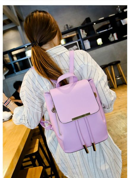 058f0d3116e0 Purple Leather Fashion Backpacks For Women Chic Ladies Girls School  Backpacks Korean Style Bags