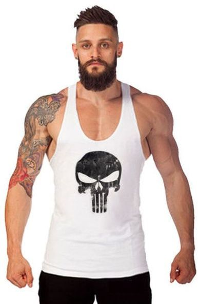 c45224972d7c2c The Punisher Skull Y back muscle sleeveless gym fitness shirt - Size ...