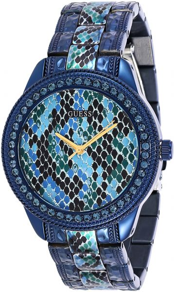 1dcff968b8b84 Guess Serpentine Women s Blue Dial Stainless Steel Band Watch ...