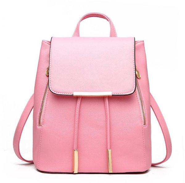 Girls Pink Preppy Style School Bag PU Leather Backpack Ladies Rucksack  0d4a2d524be1d