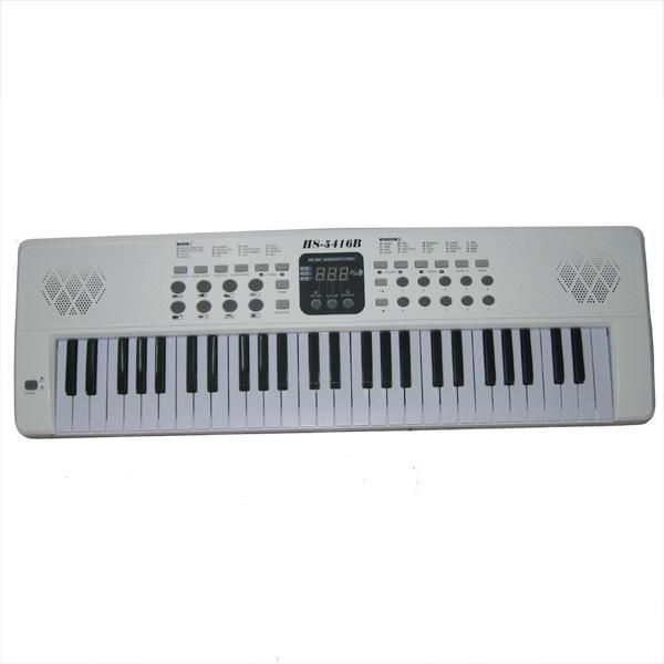 Electronic keyboard 54 keys with mic and digital screen - HS-5416B (White)