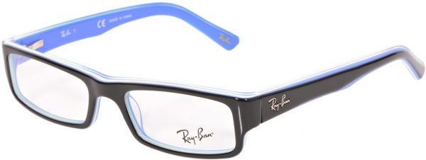 ef9e7f2fe0 Ray-Ban Rectangle Black and Blue Unisex Eyewear Frame - RB-5246-5151 ...