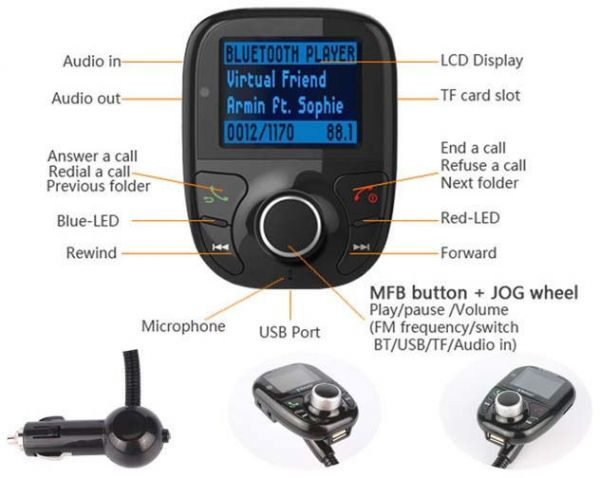 Bluetooth Car Kit MP3 Player FM Transmitter usb lcd modulator SD MMC Card with Remote | Souq - UAE
