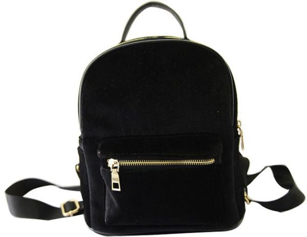 009237becd Women Winter Velvet Mini Backpack Girl Casual Small Schoolbag Black