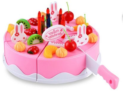 Plastic Kitchen Cutting Toy Birthday Cake Pretend Play Food Toy Set