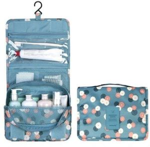 ce3e0dc82a88 Portable Waterproof Cosmetic Makeup Toiletry Travel Hanging Organizer  Storage Bag Pouch - Flower Gray