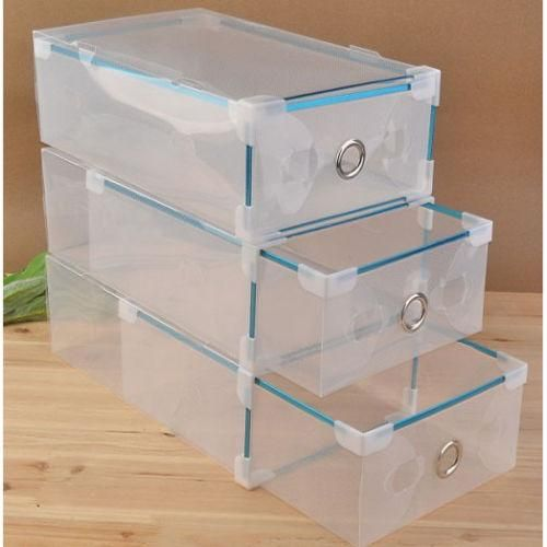 Clear Transparent Drawer Case, Foldable, Plastic, Used For Shoe Box Storage,  Home Organizer, Pack Of 2