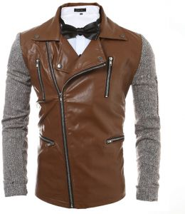 75d192a2362 Brown Leather Biker Jacket For Men
